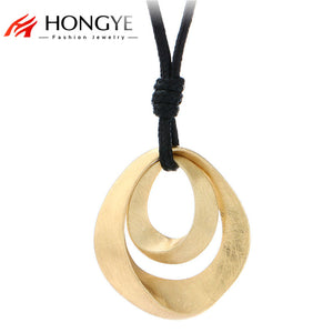 New Simple Luxury Jewelry Black Leather Long Necklace Women Alloy Wire Drawing Double Water Drop Pendant Necklace Friend Bijoux - 64 Corp
