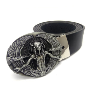 Fashion black faux leather Men Belts Cowboy Western Cowgirl Belt with Native American Indian birds metal buckle Ceinture Homme - 64 Corp
