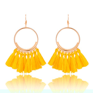 2018 Fashion Bohemian Ethnic Fringed Tassel Earrings for Women Golden Round Circle Ring Dangle Hanging Drop Earrings Jewelry - 64 Corp