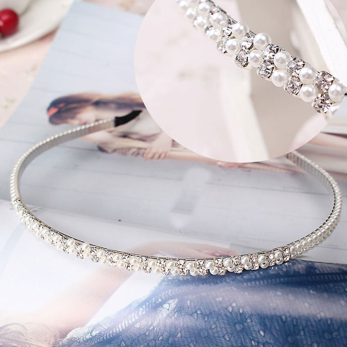 M MISM Elegant Wedding Birthday New Crystal Pearl Hair Bands Headband Hair Accessories Ornaments Head Wear Hoop for Women Girls - 64 Corp