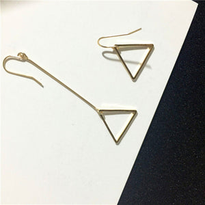 Minimalist hm cos wind length asymmetric geometry hollow circular triangle earrings earrings Lady beautiful stud earrings - 64 Corp