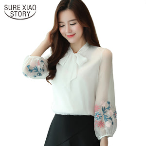 2017 Autumn new fashion lantern sleeve women chiffon shirt long sleeve sweet embroidery bow tie bottoming blouse top 605F - 64 Corp