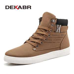 DEKABR 2018 Hot Men Shoes Fashion Warm Fur Winter Men Boots Autumn Leather Footwear For Man New High Top Canvas Casual Shoes Men - 64 Corp