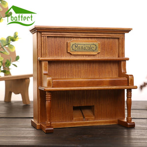 Vintage Wooden Piano Music Box Hand-Cranked Clockwork for Princess Love Girl Valentine's Day Christmas gift Type Home Decoration