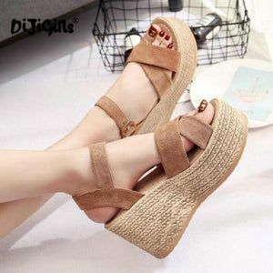 Velvet Flock Fish Mouth Fashion High Heel Platform Sandals - 64 Corp