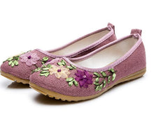 Vintage Embroidered Women Flats Flower Slip On Cotton Fabric Linen Comfortable Old Peking Ballerina Flat Shoes Sapato Feminino - 64 Corp