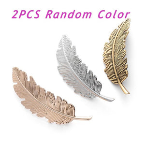 1/2Pcs Fashion Women Leaf Feather Hair Clip Hairpins Girls Headband Barrette Bobby Pin Festival Hair Accessories Gold Silver - 64 Corp
