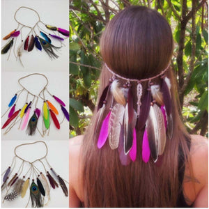Hot sale Women Feather headwear Hair Accessories Peacock Feather Head Bands Indian Bohemian party hair accessories  F0229 - 64 Corp