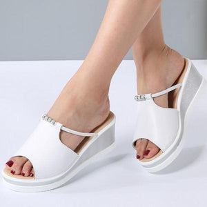 Peep toe Crystal Elegant Female Wedges - 64 Corp
