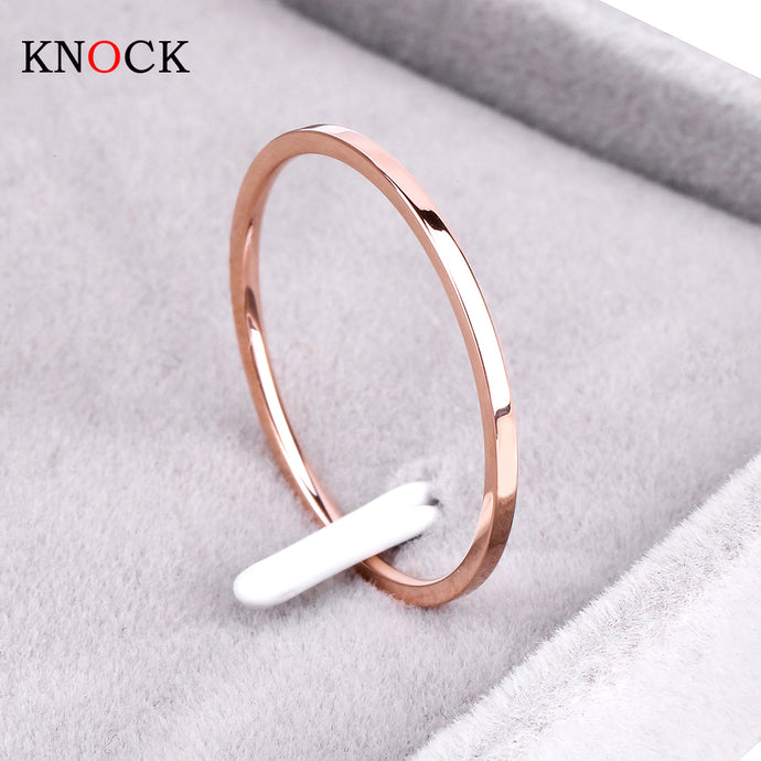 Titanium Steel Rose Gold Color Couple Wedding Ring - 64 Corp
