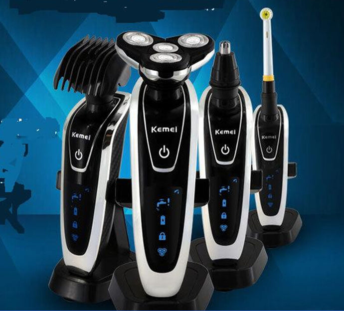 4 head Washable men Electric Shaver Triple Blade Shaving Razor mustache trimmer man beard grooming kit shave nose hair clipper - 64 Corp