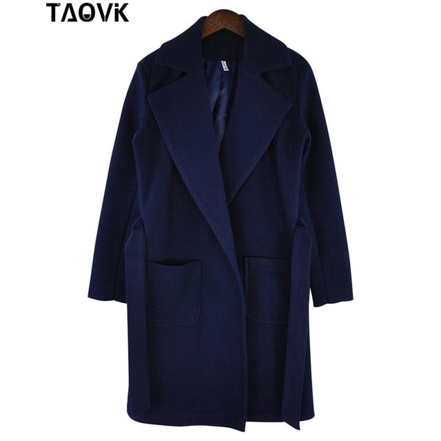 TAOVK Women woolen Long sleeve Medium-long notched collar open front parka belt Coat