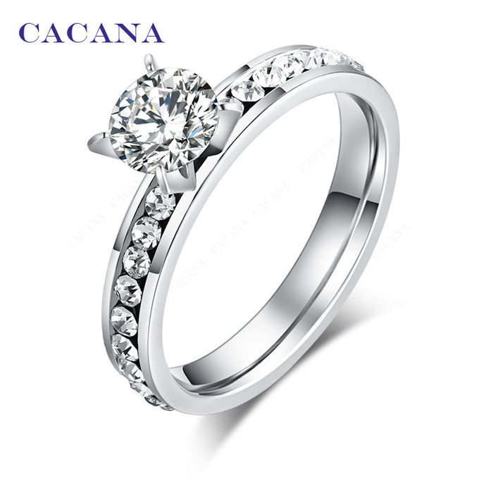 CACANA Titanium Stainless Steel Rings For Women Circle CZ  Fashion Jewelry Wholesale NO.R174 - 64 Corp