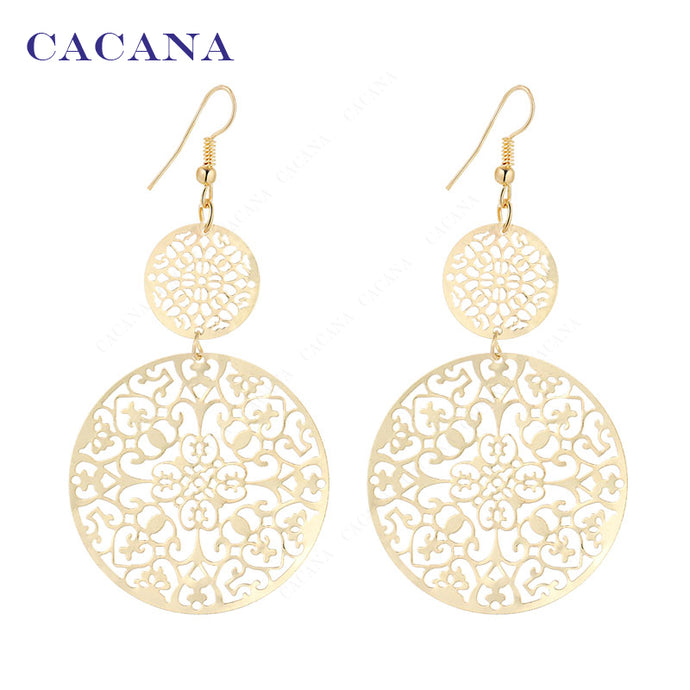 CACANA  Dangle Long Earrings For Women Classic Pattern Hollow Round Bijouterie Hot Sale No.A339 A340 - 64 Corp
