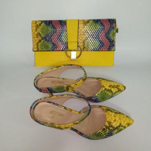 Pretty Low Heel Slipper Shoes With Matching Clutch Bags Sets - 64 Corp
