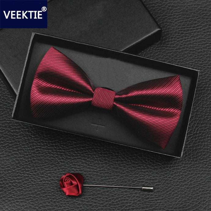 VEEKTIE 2018 New Design Bow ties for men Wedding Party Business Bowtie Butterfly Black Red Blue Cravate Formal Tuxedo Bowtie - 64 Corp