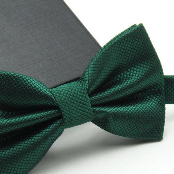 Dark Green Grid Bow Ties for Wedding Party - 64 Corp