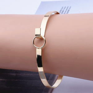 New Fashion Accessories Jewelry Simple Metal Round Bangles Minimalist Design Aperture Bangle Bracelet for Women Lovers' Gift - 64 Corp