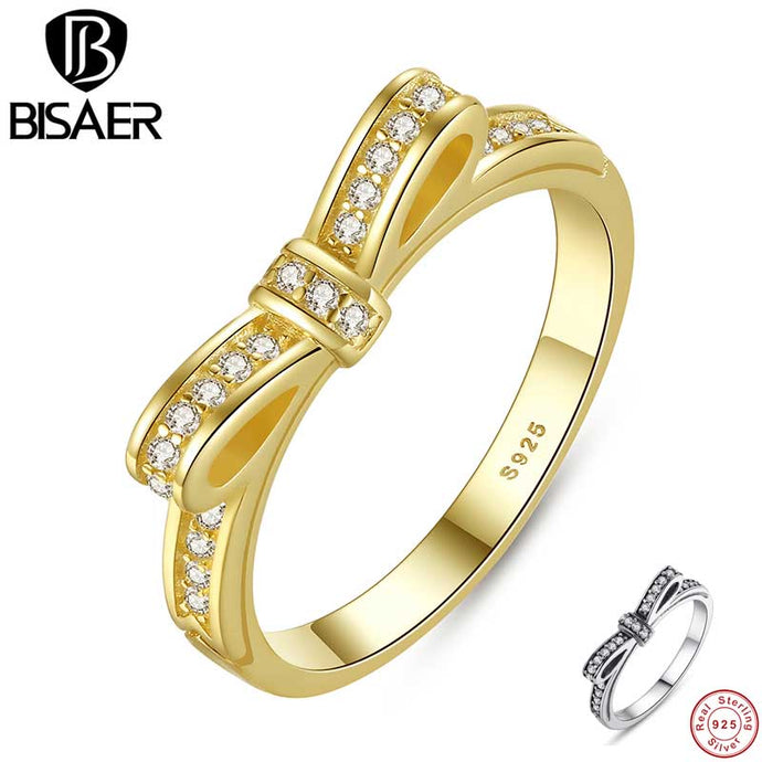 925 Sterling Silver Jewelry Chic Bow Bowknot Gold Wedding Band Female Engagement Rings For Women Sterling Silver Jewelry GO7129 - 64 Corp