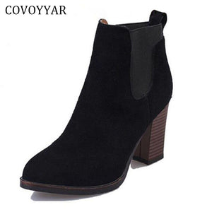 COVOYYAR Classic Thick Heel Women Ankle Boots 2017 Autumn Winter Lady High Heel Martin Boots Booties Black Shoes Women WBS267 - 64 Corp