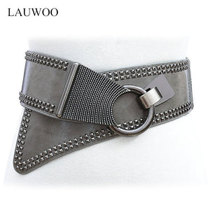 Fashion Punk Rocker Wide Belts for Women - 64 Corp