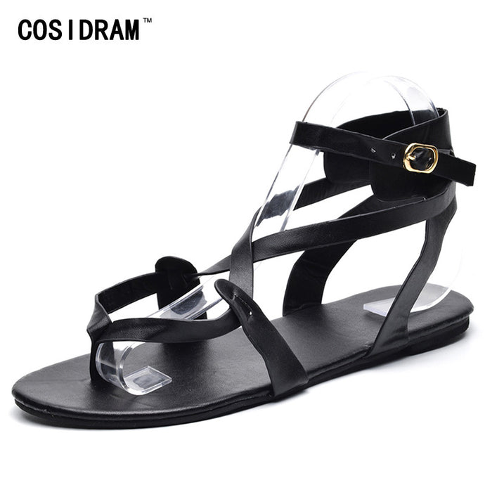 COSIDRAM 2018 Shoes Woman Summer Shoes Female Casual Flat Heels Ankle Strap Women Sandals Plus Size 42 43 SNE-015 - 64 Corp