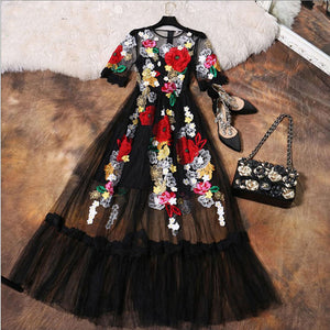 Luxury Dress New 2018 Summer Fashion Designer New Elegant Flower Embroidery Appliques Black Mesh Slim Women Vintage Long Dress - 64 Corp