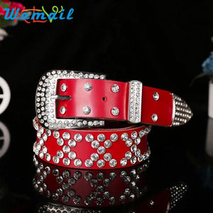 Atlas Western Cowgirl Bling Cowgirl Leather Belt Clear Rhinestone Crystak New224 - 64 Corp