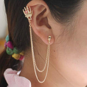 Nightclub Gothic Punk Skull Ear Cuff Earrings for Women Gold-Color Skeleton Bone Hand Clip on Earrings Halloween Gift 1pc