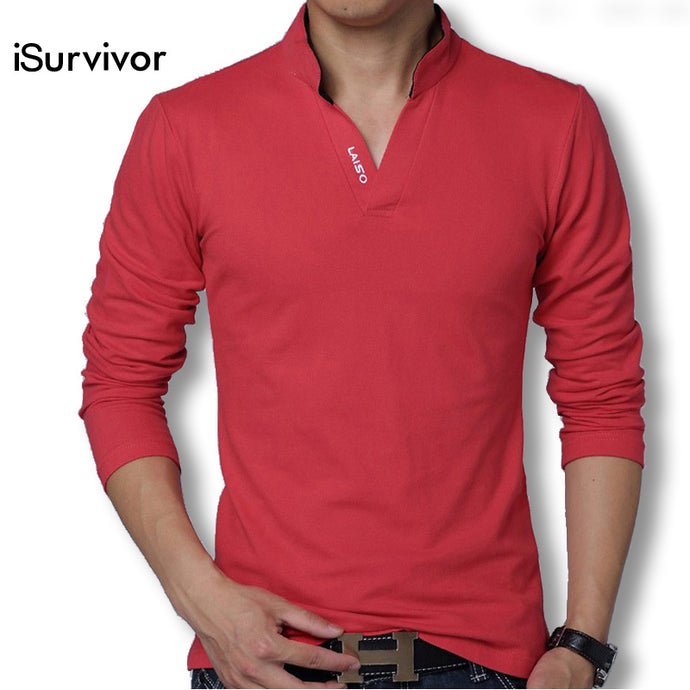 iSurvivor Men T shirts Long Sleeves Men T Shirts Cotton Casual 2018 Fashion Solid Men V Neck Slim Fitness T shirts Plus Size 5XL - 64 Corp