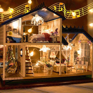 Music LED Light Miniature Doll House Provence Dollhouse DIY Kit Wooden House Model Toy with Furniture Birthday Christmas Gifts