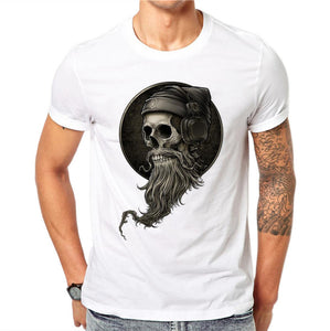 100% Cotton Personality Summer Men 3D DJ Skull Print T Shirt Letters Gothic Style O-neck Tee T-Shirts Short Sleeve Print Tops - 64 Corp