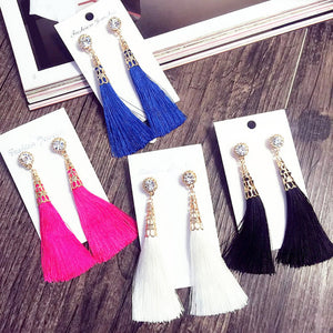 New Vintage Crystal Tassel Dangle Earrings Bohemia Earring For Women Jewelry Gift Long Pendant Drop Earring - 64 Corp