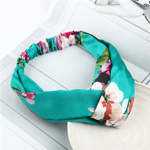 Bohemian Style Elastic Headbands Boho Cross Floral Turban Girls Flower Hairbands Striped Headwrap Hair Accessories For Women - 64 Corp