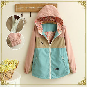 Maylina Spring Autumn Windbreaker Women Long Loose Cartoon Hooded Two Side Thin jacket Coat Female Windbreakers Jackets Clothes