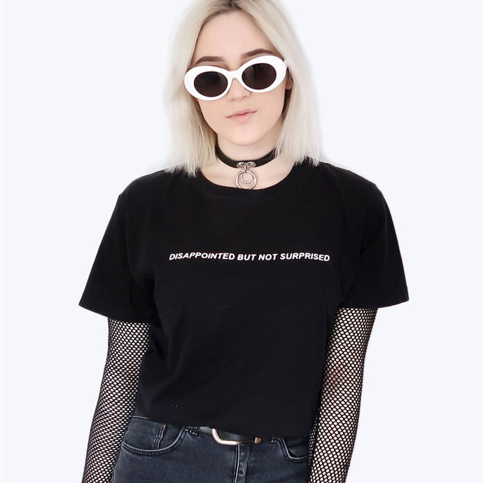 Disappointed But Not Surprised T-Shirt Women Casual Tumblr Inspired Pastel Pale Grunge Aesthetic Tee Funny T Shirt For Girls - 64 Corp