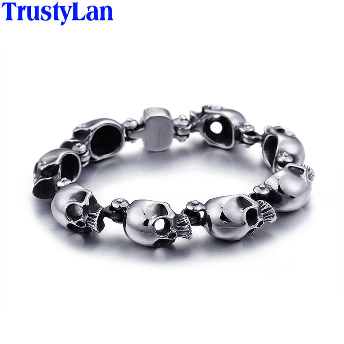 TrustyLan Punk Rocker Skull Skeleton Bracelet Men 316L Stainless Steel Male Jewelry Ghost Mens Bracelets & Bangles Gift For Him - 64 Corp
