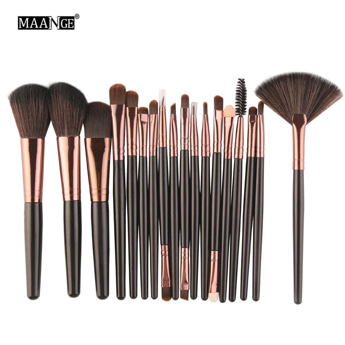 Pro 18 Pcs Makeup Brushes Set Foundation Contour Powder Eye Shadow Eyeliner Lip Blending Cosmetic Beauty Make Up Brushes Tools - 64 Corp