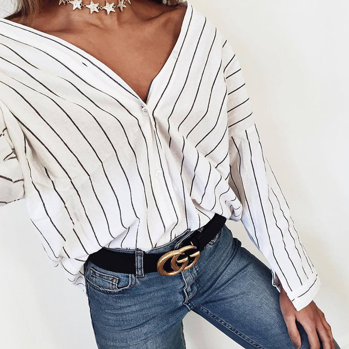 2018 New Women summer Beach Casual Loose shirt Long sleeve stripes print blouses Cardigan button casual tops Plus size - 64 Corp