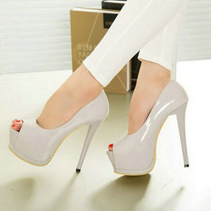 2018 women fashion Heel Concise Shallow Mouth shoes Peep Toe Thin High Heels shoes pumps Wedding Party Super 14cm shoes XA-07 - 64 Corp