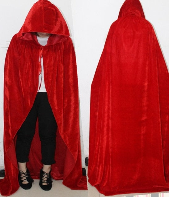 Adult Witch Long Purple Green Red Black Cloaks Hood Cape halloween costumes for women vampire Men gothic scary Fancy cosplay