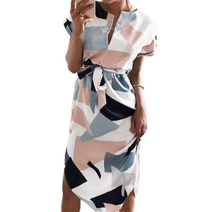 Fashion Print Elegant Cute Sashes O-neck Sexy Slim Sheath Dress - 64 Corp