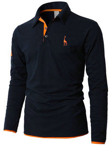 Casual Slim Solid Deer Embroidery Polos - 64 Corp