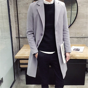 2018 Spring Men's Casual Long Sleeve Woolen Coat / Men's Solid Color Long Trench Coats Blends / plus size 5XL