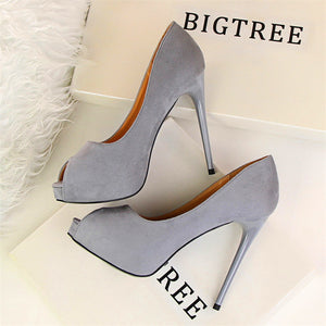 2018 New Autumn Fashion Platform Women Pumps Concise Solid Flock High Heels 12cm Shoes Women's Peep Toe Shallow Sexy Party Shoes - 64 Corp