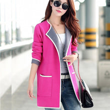 Women's Autumn Coat Grey/pink Long trench coat Big size 2017 Knitted Open stitch Female trench coat Windbreaker Cardigan