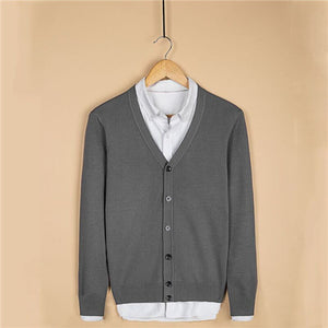Men Knitted Cardigan V-neck Cotton - 64 Corp