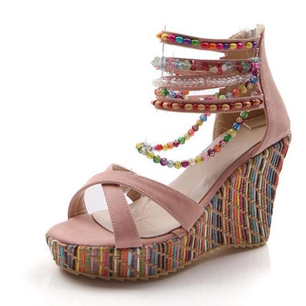 COSIDRAM New 2018 Summer Fashion Woman Sandals Shoes Bohemian Sandals Comfortable Sweet Wedge Heels Shoes for Girls SNE-045 - 64 Corp