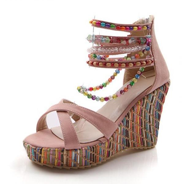 Bohemian Sweet Wedge Heels Shoes for Girls - 64 Corp