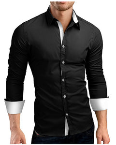 Men Shirt Brand 2018 Male High Quality Long Sleeve Shirts Casual Hit Color Slim Fit Black Man Dress Shirts 4XL C936 - 64 Corp